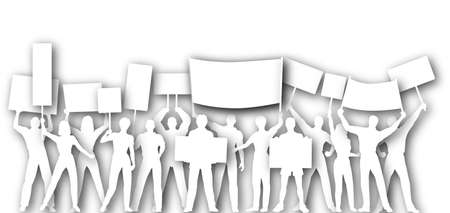 textspace: Illustrated cutout silhouettes of people holding placards or signs Stock Photo
