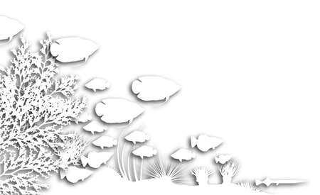 Illustration of cutout fish and coral silhouettes illustration