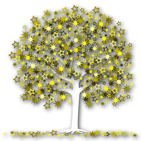 Illustration of a tree with stars as leaves Stock Illustration - 6997579