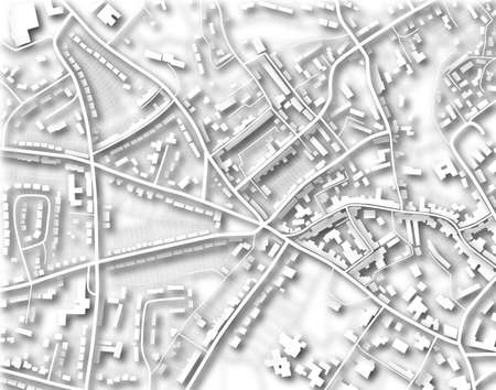 Illustration of a detailed generic street map without names illustration