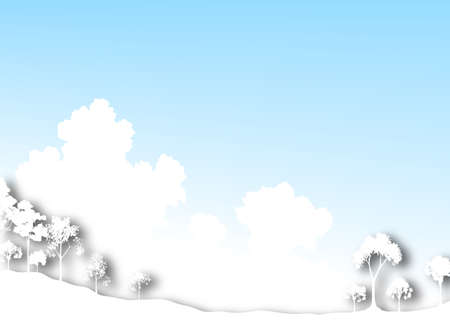 Illustration of cutout tree silhouettes and sky Stock Illustration - 6997486
