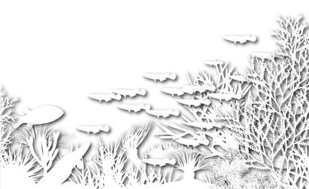 coral reef: Illustration of white cutout coral and fish silhouettes