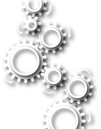 chain reaction: Abstract design of white cutout cog wheels