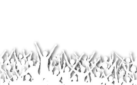 Illustrated silhouettes of white cutout cheering people Stock Photo - 6997506