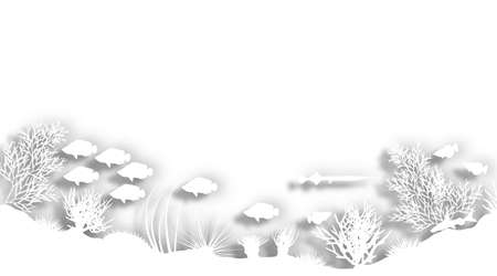 Illustration of a white cutout sea coral silhouette foreground Stock Illustration - 6997521