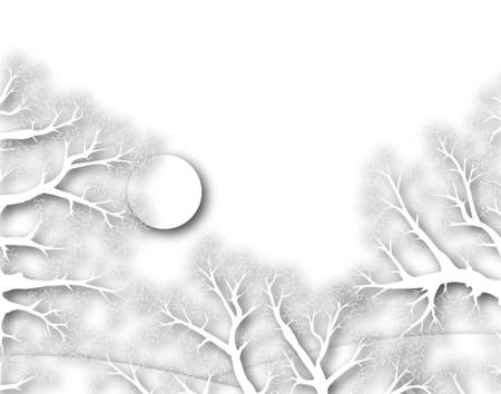 Illustration of a white winter sunset with copy-space Stock Illustration - 6997537