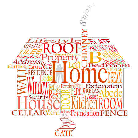 building security: Editable  illustration of a house made from homely words