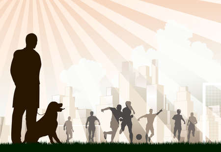 Editable  illustration of a man watching footballers Vector