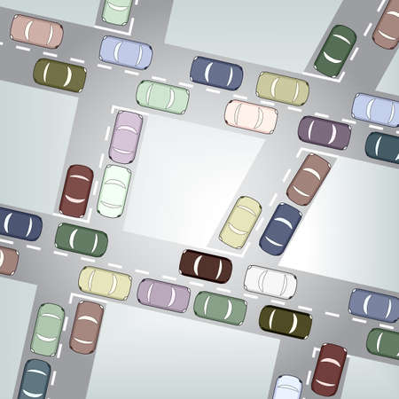crossroads: Editable  illustration of busy car traffic Illustration