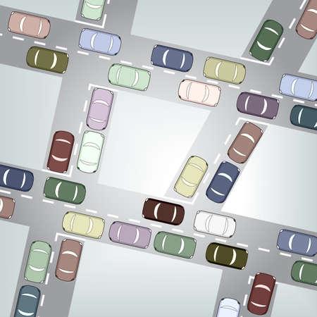 cruce de caminos: Ilustraci�n editable de tr�fico de coche ocupado