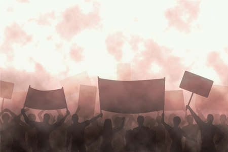 protest signs: Illustration of a group of angry protesters Stock Photo