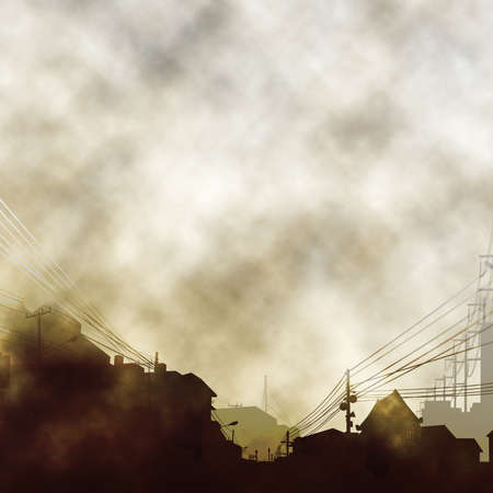atmospheric: Illustration of an urban scene with clouds and smoke