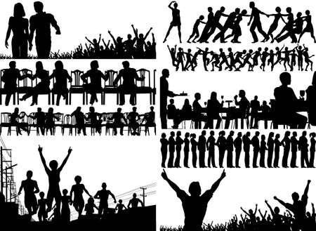 Set of editable  foreground illustrations of people with all figures as separate elements
