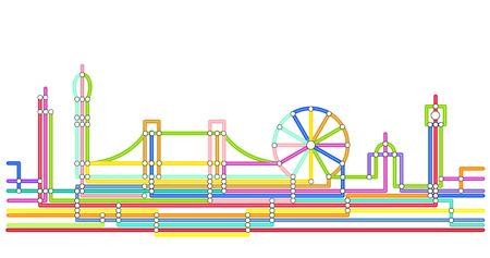 Diseño abstracto de la silueta de Londres en el estilo de un mapa de metro