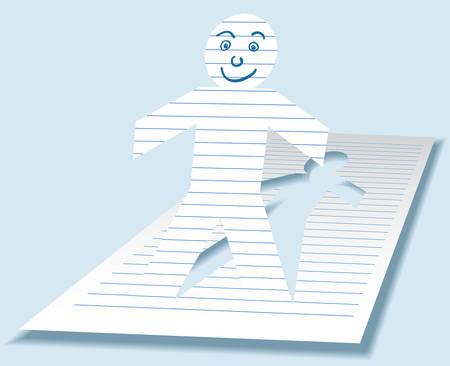Illustrazione modificabile di un paperman sfinestratura