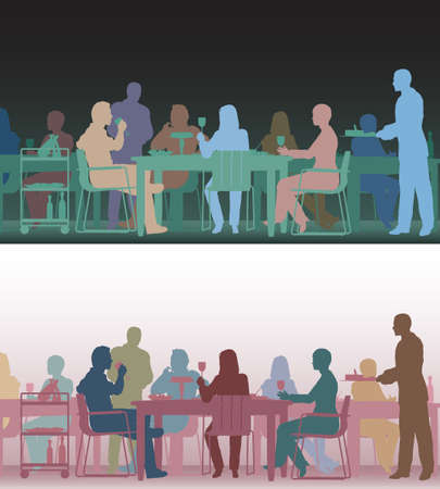 Two color versions of the same editable scene of people eating in a restaurant