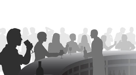 Editable silhouettes of people in a wine bar with all figures as separate objects