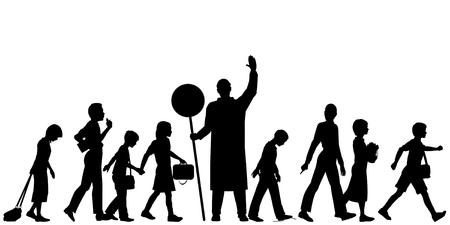 Bewerkbare silhouetten van school kinderen, overschrijding van een weg