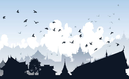 Editable illustration of birds over a generic east asian city