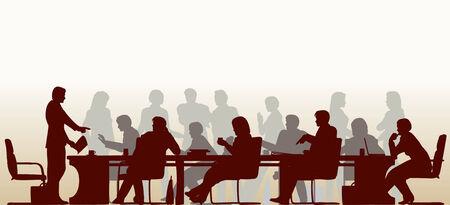 Bewerkbare voorgrond silhouet van mensen in een vergadering met alle figuren en andere elementen als afzonderlijke objecten Vector Illustratie