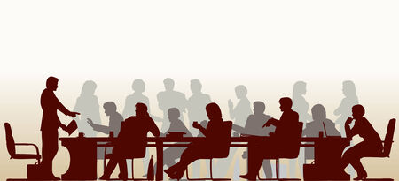 Editable foreground silhouette of people in a meeting with all figures and other elements as separate objects
