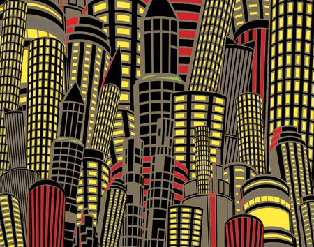 Ilustración editable de edificios de la ciudad de altura en la noche