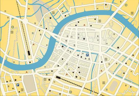Street map van een generieke stad met geen namen