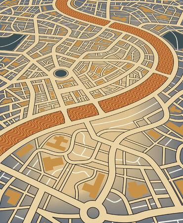 Illustrazione modificabile di una mappa stradale nameless dal punto di vista angolare
