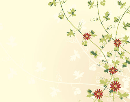 Editable illustration of vines with flowers
