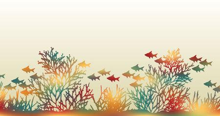 illustratie van felgekleurde koraal en vis gemaakt door een achtergrondkleur gaas te maskeren Vector Illustratie