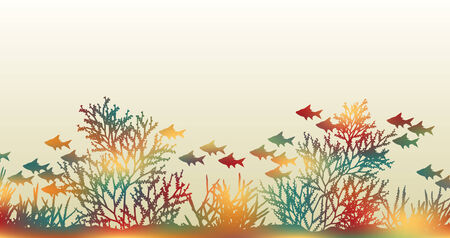 illustration of brightly colored coral and fish made by masking a background color mesh Vetores