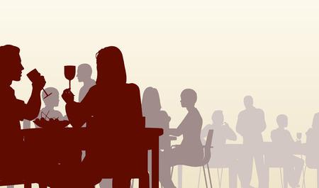 Bewerkbare silhouet van mensen eten in een restaurant