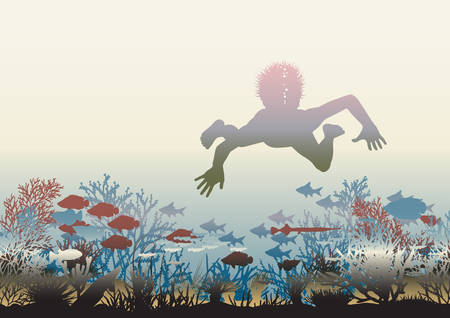 illustration of a boy swimming over a coral reef