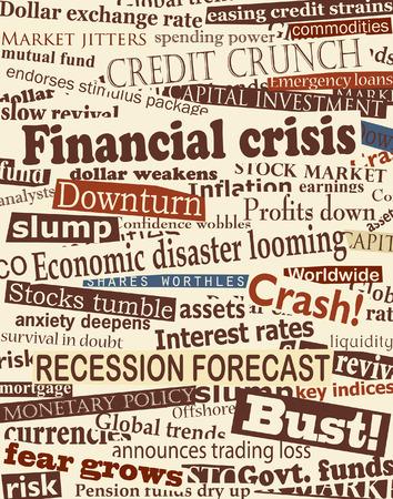 経済問題についての新聞の見出しの背景デザイン