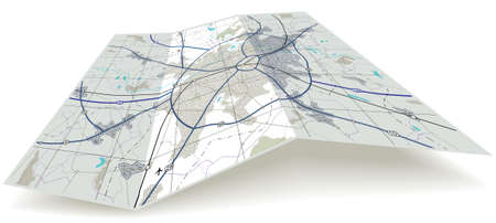 Carte détaillée de pliage modifiable avec aucun nom