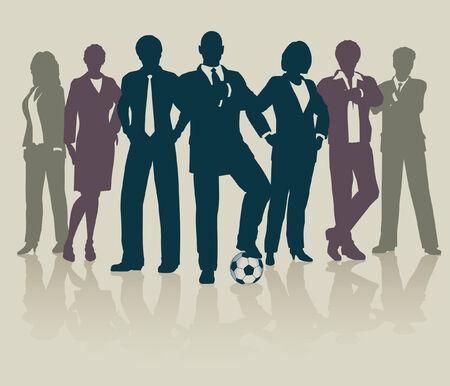 Bearbeitbare Abbildung eines sportbezogene Business-Teams
