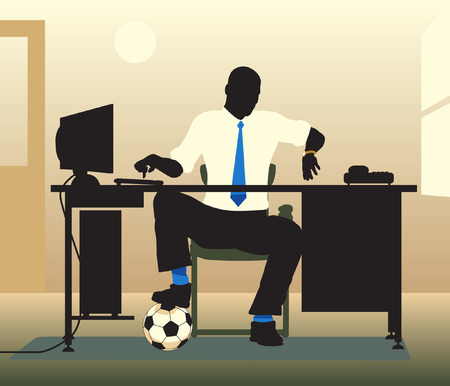 Editable  illustration of an office worker with a football looking at his watch