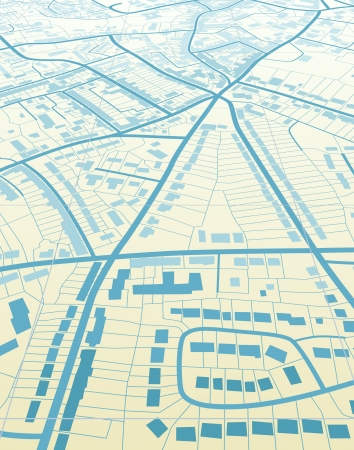 Editable illustration of a generic street map without names Vetores