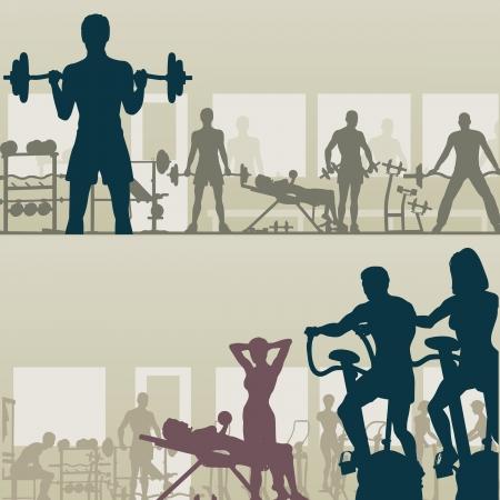 Dos siluetas editables de ejercicio en un gimnasio de personas  Ilustración de vector
