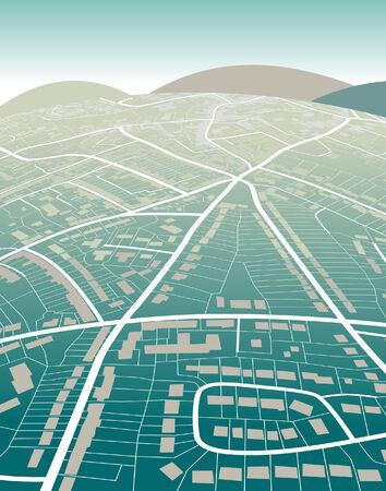 Illustration modifiable d'une carte de rue générique et collines vertes