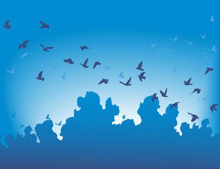illustration d'une volée d'oiseaux en vol