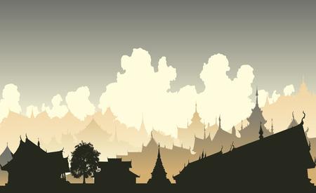 Illustrazione modificabile di una città east asian generica