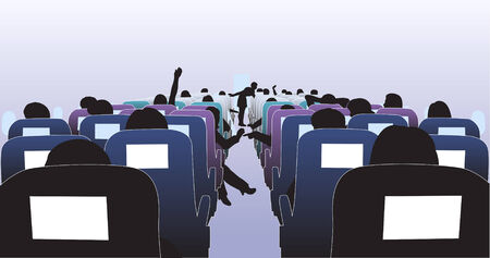 Editable  illustration of passengers in an airplane
