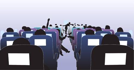 Ilustración editable de pasajeros en un avión  Ilustración de vector