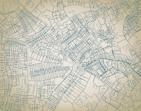 Editable sketch blueprint of a detailed generic street map without names Vetores