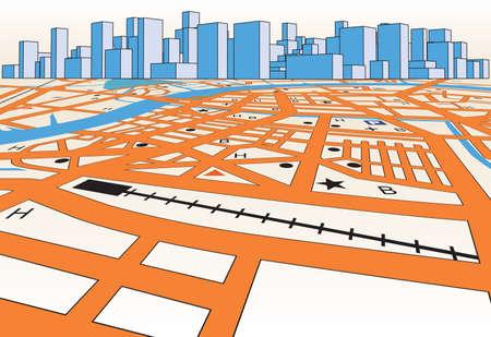 Straßenkarte von einem generischen Stadt plus skyline Standard-Bild - 7794774
