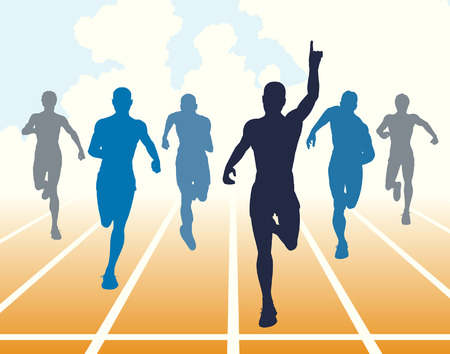 Editable illustration of men finishing a sprint race Vetores