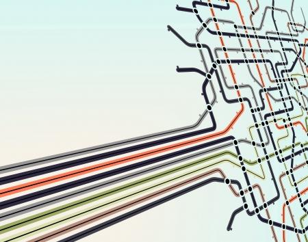 Résumé historique modifiable d'une carte de métro Vecteurs
