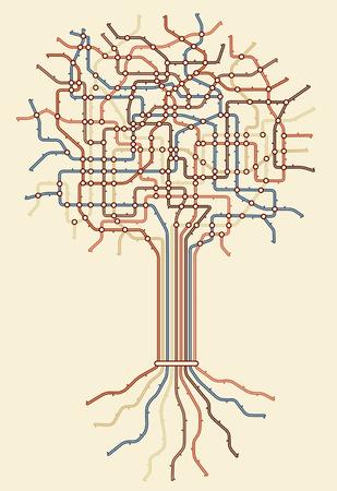 Mapa del metro editable en forma de un árbol