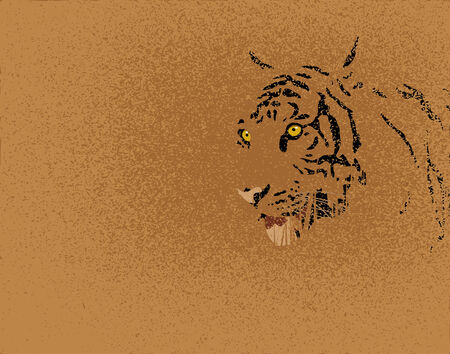 Editable illustration of a tiger and grunge
